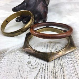 Set of 3 Vintage Brass & Wood Bangles